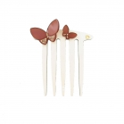 Hair comb pipelette cream-burgundy