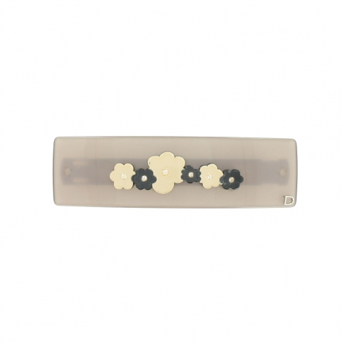 Barrette fleurs queue leu leu gris