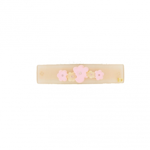Barrette fleurs queue leu leu rose